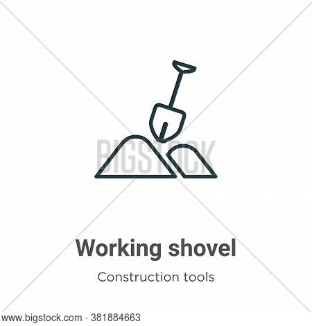 Working shovel icon isolated on white background from tools collection. Working shovel icon trendy a