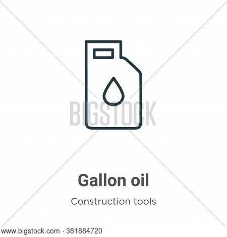 Gallon oil icon isolated on white background from tools collection. Gallon oil icon trendy and moder
