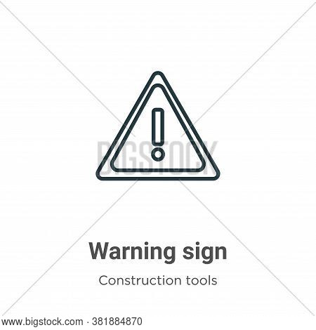 Warning sign icon isolated on white background from tools collection. Warning sign icon trendy and m