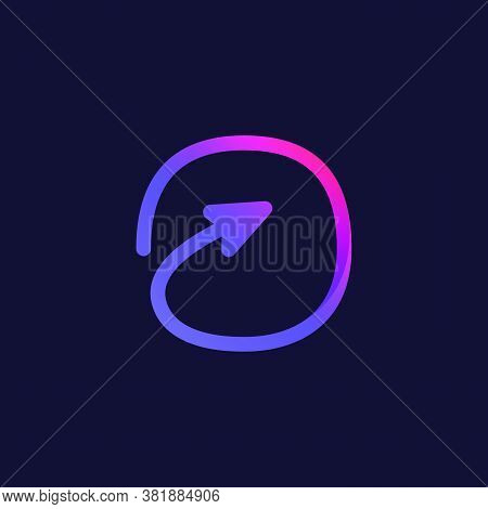 Arrow Letter O Multimedia And Play Line Logotype. This Icon Can Be Used For A Music Company Advertis