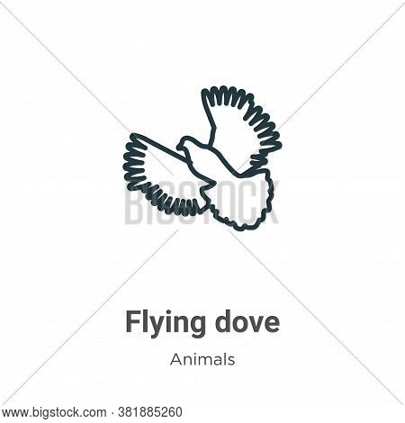 Flying dove icon isolated on white background from animals collection. Flying dove icon trendy and m