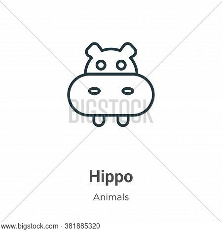 Hippo icon isolated on white background from animals collection. Hippo icon trendy and modern Hippo