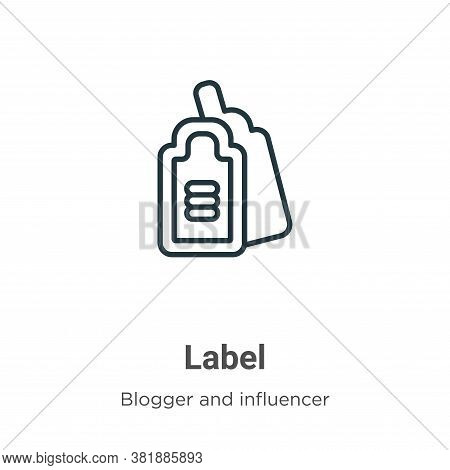 Label icon isolated on white background from blogger and influencer collection. Label icon trendy an