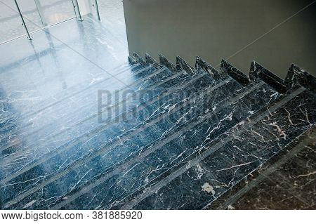 Marble Staircase. Classic Architecture. Close-up Photo Of Public Interior Fragment.flight Of Stairs,