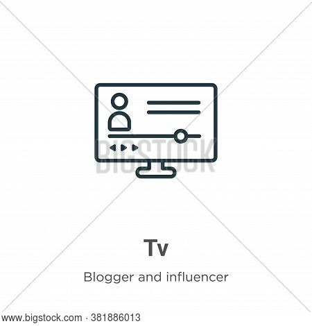 Tv icon isolated on white background from blogger and influencer collection. Tv icon trendy and mode