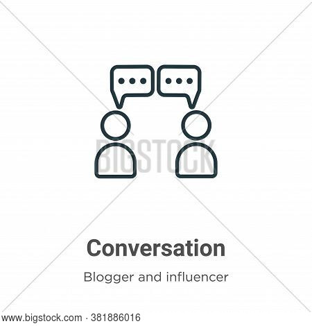 Conversation icon isolated on white background from blogger and influencer collection. Conversation