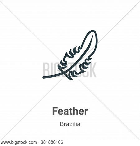 Feather icon isolated on white background from brazilia collection. Feather icon trendy and modern F