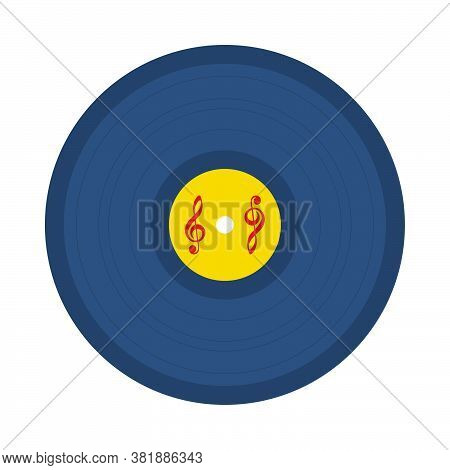 Analogue Record Icon. Flat Color Design. Vector Illustration.