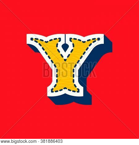 Y Letter Sports Team Logo In Tackle Twill Style. Embroidered Serif Font For University Uniform, Base