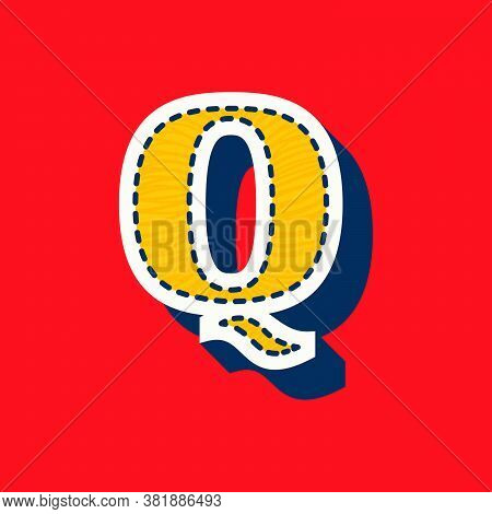 Q Letter Sports Team Logo In Tackle Twill Style. Embroidered Serif Font For University Uniform, Base