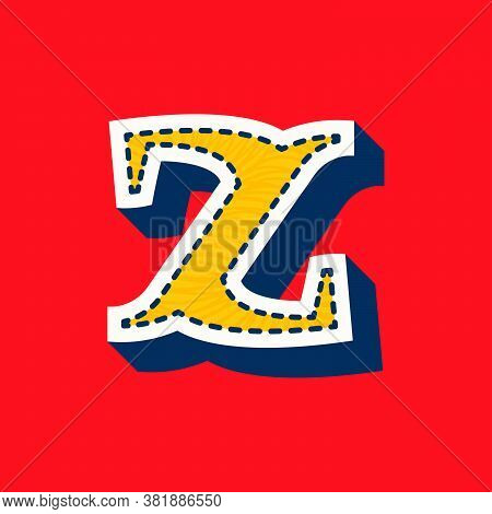 Z Letter Sports Team Logo In Tackle Twill Style. Embroidered Serif Font For University Uniform, Base