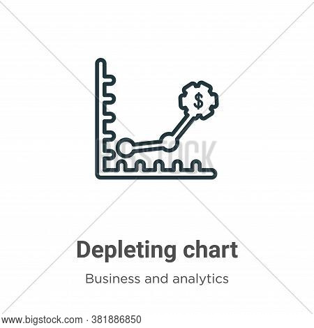 Depleting chart icon isolated on white background from business and analytics collection. Depleting