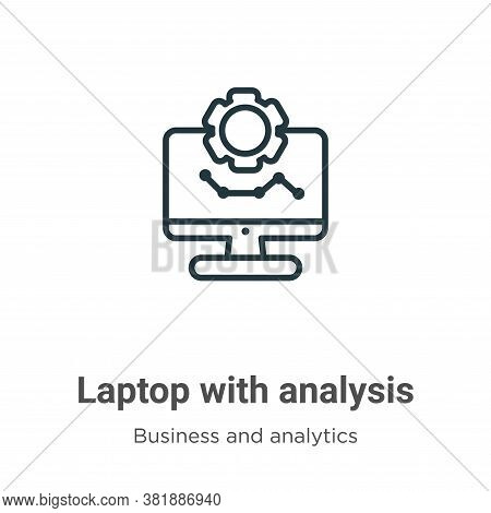 Laptop with analysis icon isolated on white background from business and analytics collection. Lapto