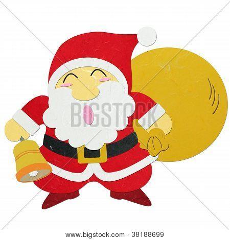 Rice Paper Cut Santa Claus Carrying Sack