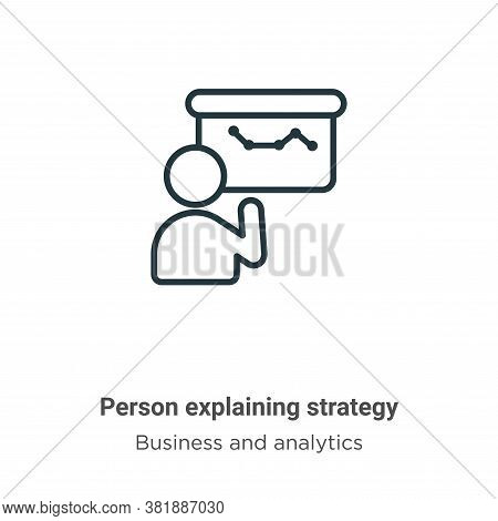 Person explaining strategy icon isolated on white background from business and analytics collection.