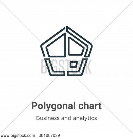 Polygonal chart icon isolated on white background from business and analytics collection. Polygonal