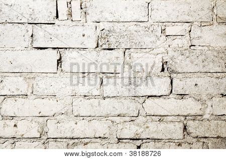 Wasted white brick wall background