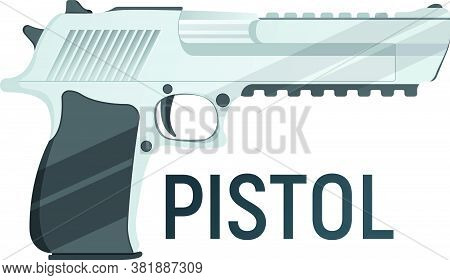 Pistol Icon, Self Defense Weapon, Concept Cartoon Vector Illustration, Isolated On White. Shooting P
