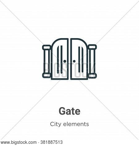 Gate icon isolated on white background from city elements collection. Gate icon trendy and modern Ga