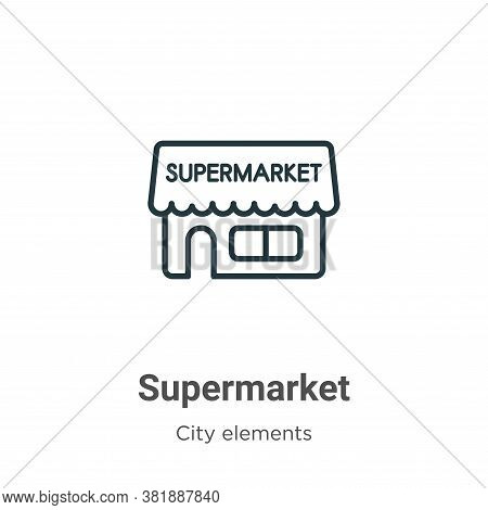 Supermarket icon isolated on white background from city elements collection. Supermarket icon trendy