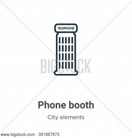 Phone booth icon isolated on white background from city elements collection. Phone booth icon trendy