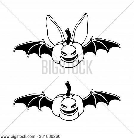 Funny Bat With Pumpkin Head, Bloodsucker, Symbol Of Vampire & Halloween Holiday, Pet, Vector Illustr