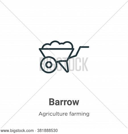 Barrow icon isolated on white background from agriculture farming and gardening collection. Barrow i