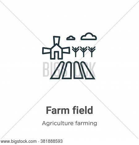 Farm field icon isolated on white background from agriculture farming and gardening collection. Farm