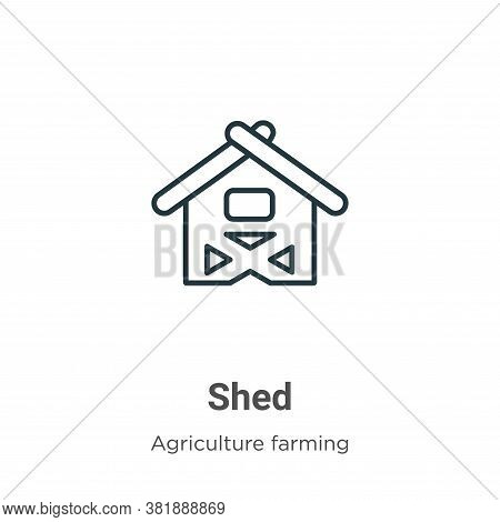 Shed icon isolated on white background from agriculture farming and gardening collection. Shed icon