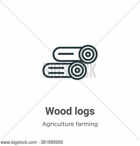 Wood logs icon isolated on white background from agriculture farming and gardening collection. Wood