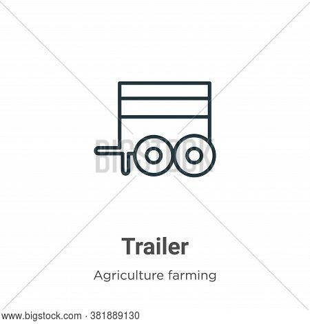 Trailer icon isolated on white background from farming and gardening collection. Trailer icon trendy