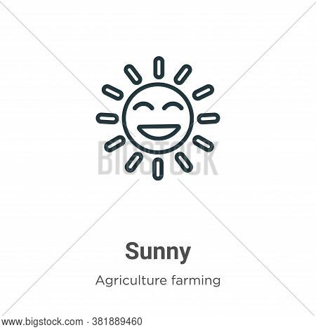 Sunny icon isolated on white background from farming collection. Sunny icon trendy and modern Sunny