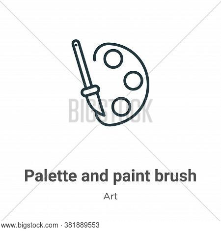 Palette and paint brush icon isolated on white background from art collection. Palette and paint bru