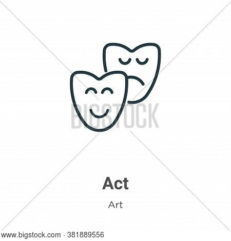 Act Icon From Art Collection Isolated On White Background.