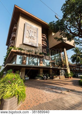 Candolim, North Goa, India - November 23, 2019: Street View Of Candolim At Sunny Day With Yu Hotel E