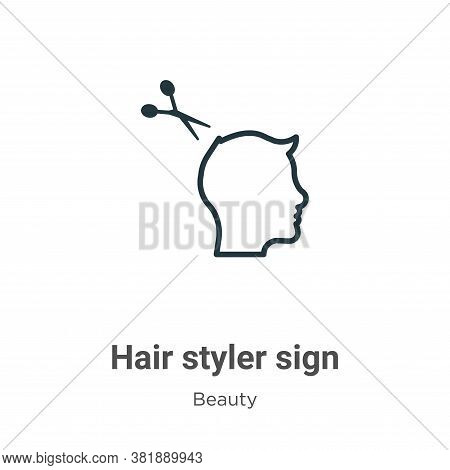 Hair styler sign icon isolated on white background from beauty collection. Hair styler sign icon tre