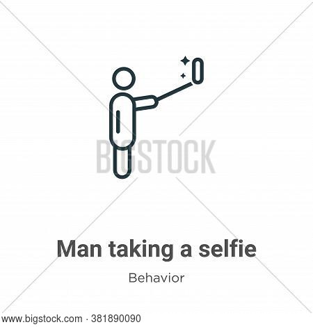 Man taking a selfie icon isolated on white background from behavior collection. Man taking a selfie