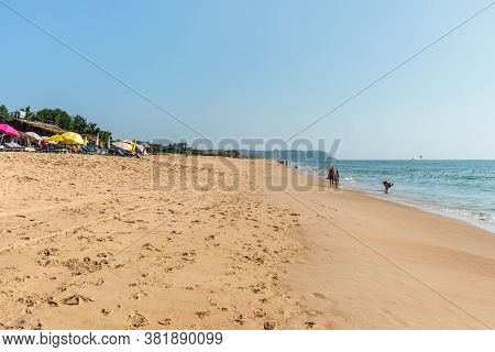 Candolim, North Goa, India - November 23, 2019: Wide Angle View Of The Candolim Beach In Candolim, N