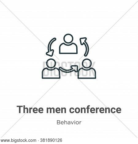 Three men conference icon isolated on white background from behavior collection. Three men conferenc
