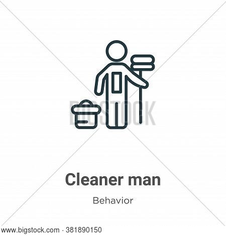 Cleaner man icon isolated on white background from behavior collection. Cleaner man icon trendy and