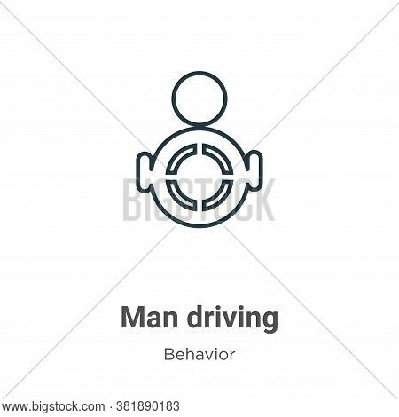 Man driving icon isolated on white background from behavior collection. Man driving icon trendy and