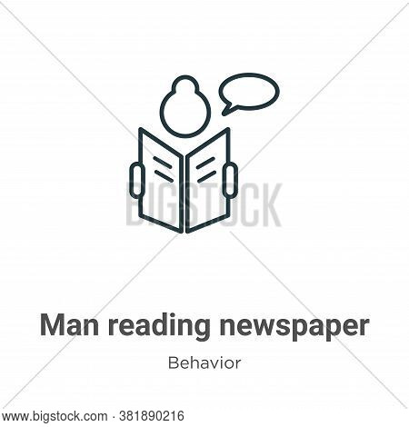 Man reading newspaper icon isolated on white background from behavior collection. Man reading newspa