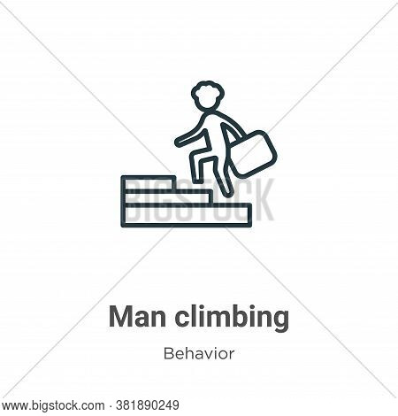 Man climbing icon isolated on white background from behavior collection. Man climbing icon trendy an