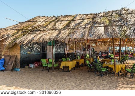 Candolim, North Goa, India - November 23, 2019: Exterior Of The Beach House Shack Cafe Located On Th