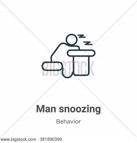 Man snoozing icon isolated on white background from behavior collection. Man snoozing icon trendy an