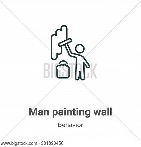 Man painting wall icon isolated on white background from behavior collection. Man painting wall icon