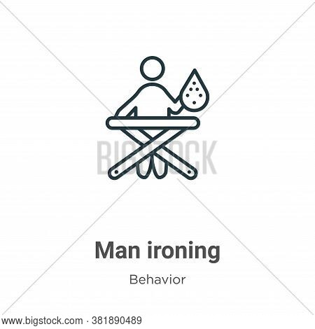Man ironing icon isolated on white background from behavior collection. Man ironing icon trendy and