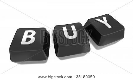 Buy Written In White On Black Computer Keys. 3D Illustration. Isolated Background.