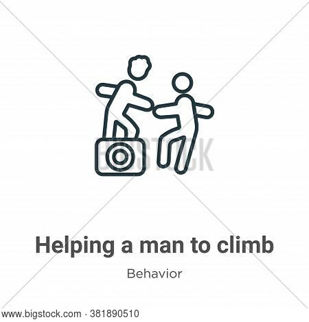 Helping a man to climb icon isolated on white background from behavior collection. Helping a man to