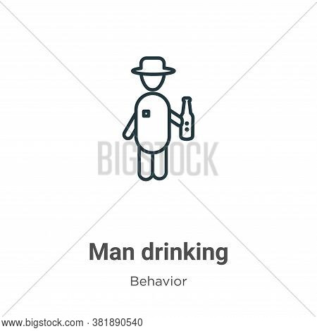 Man drinking icon isolated on white background from behavior collection. Man drinking icon trendy an